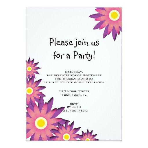 Invitación rosada y púrpura del fiesta de la flor