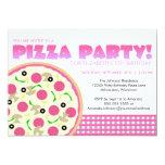 Invitación rosada y púrpura del fiesta de la pizza