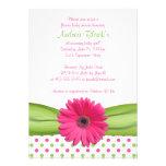 Invitación rosada y verde de la fiesta de bienveni