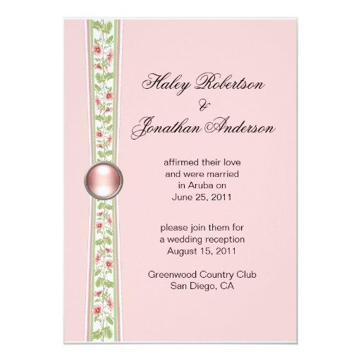 Invitación rosada y verde de la recepción nupcial