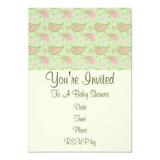 Invitación rosada y verde de Paisley