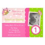 Invitación rosada y verde del cumpleaños de los ch