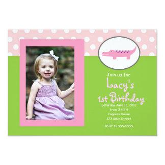 Invitación rosada y verde del cumpleaños del