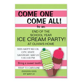 Invitación rosada y verde del fiesta del helado