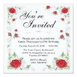 Invitación - rosas rojos invitación 13,3 cm x 13,3cm