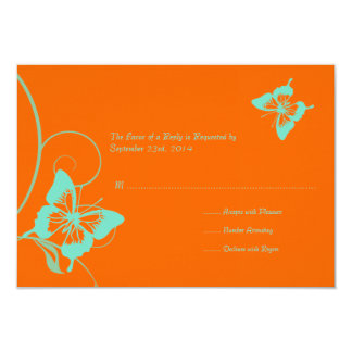 Invitación RSVP del boda de la mariposa del