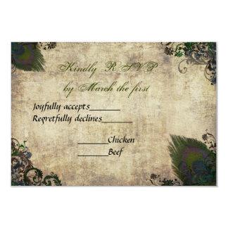 Invitación RSVP del boda del pavo real del vintage