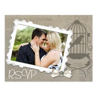 Invitación RSVP del boda del vintage con la foto Postales