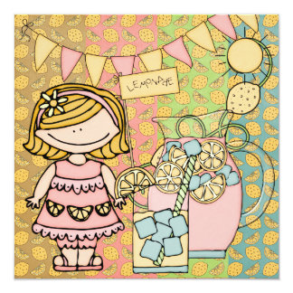 Invitación rubia del cumpleaños de la limonada del