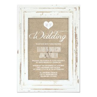 Invitación rústica blanca del boda de la arpillera