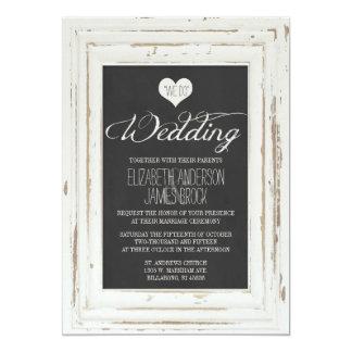 Invitación rústica blanca del boda de la tiza del