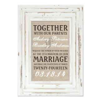 Invitación rústica blanca del boda del marco y de