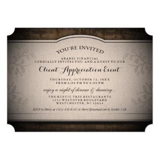 Invitación rústica de encargo del acontecimiento