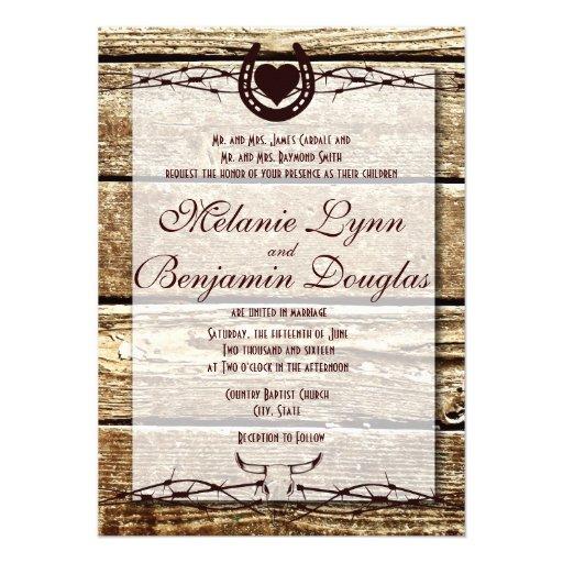 Invitación rústica de herradura del boda del alamb