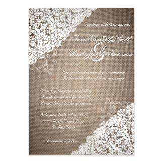 Invitación rústica de la arpillera y del boda del invitación 12,7 x 17,8 cm
