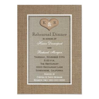 Invitación rústica de la cena del ensayo de la