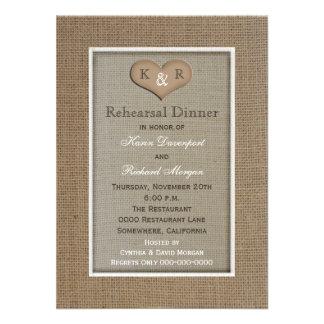 Invitación rústica de la cena del ensayo de la arp