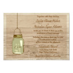 Invitación rústica de madera del boda del tarro de