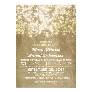 invitación rústica del boda con las luces de la se