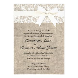 Invitación rústica del boda de la arpillera de la