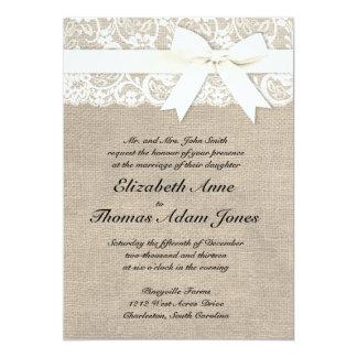 Invitación rústica del boda de la arpillera de la invitación 12,7 x 17,8 cm