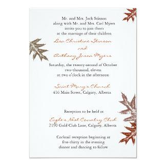 Invitación rústica del boda de la hoja del roble