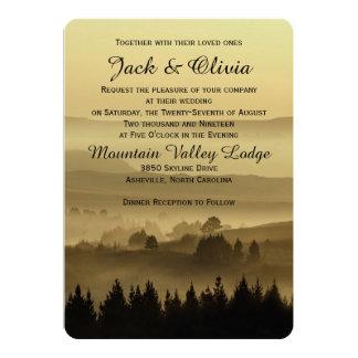 Invitación rústica del boda de la montaña del oro invitación 12,7 x 17,8 cm