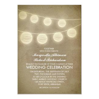 invitación rústica del boda de las linternas del invitación 12,7 x 17,8 cm