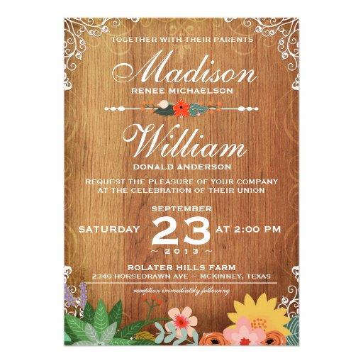 Invitación rústica del boda de los Succulents flor