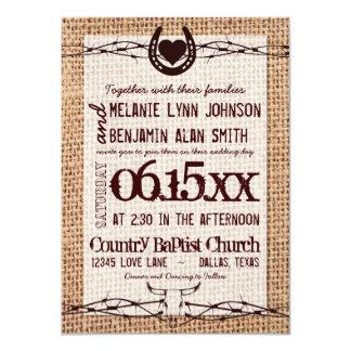 Invitación rústica del boda del alambre de púas de invitación 11,4 x 15,8 cm
