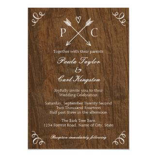 Invitación rústica del boda del árbol