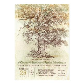 Invitación rústica del boda del árbol viejo del vi