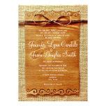Invitación rústica del boda del arco de la guita d
