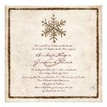 Invitación rústica del boda del copo de nieve del