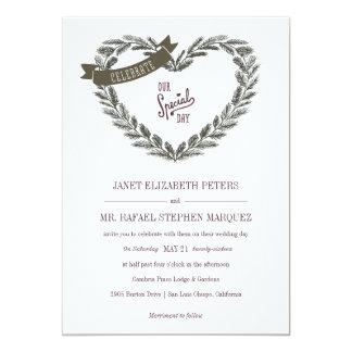 Invitación rústica del boda del corazón del pino invitación 12,7 x 17,8 cm