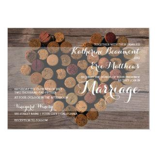 Invitación rústica del boda del corcho del vino