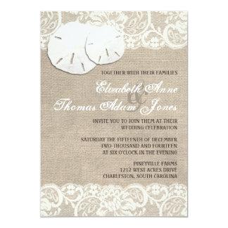 Invitación rústica del boda del cordón de la invitación 12,7 x 17,8 cm