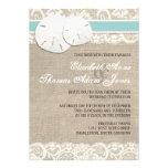 Invitación rústica del boda del cordón de la arpil