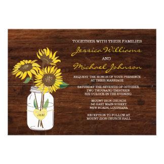 Invitación rústica del boda del girasol