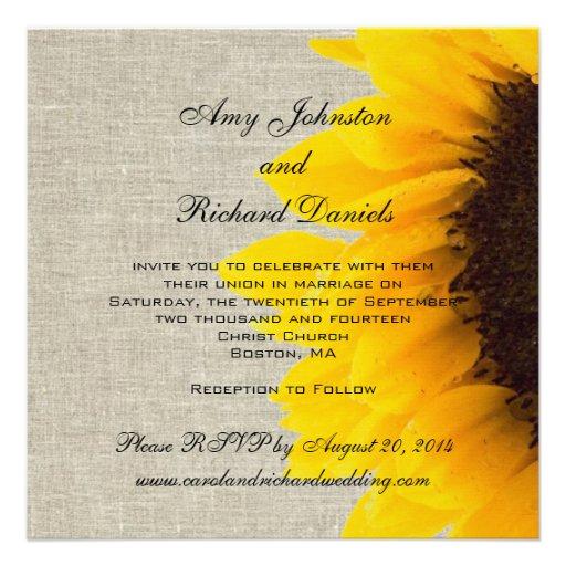 Invitación rústica del boda del girasol de lino de