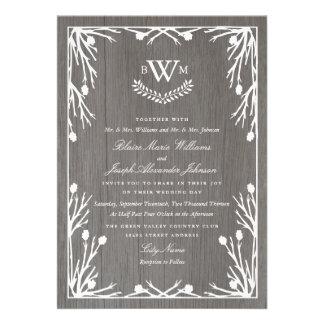 Invitación rústica del boda del monograma del país