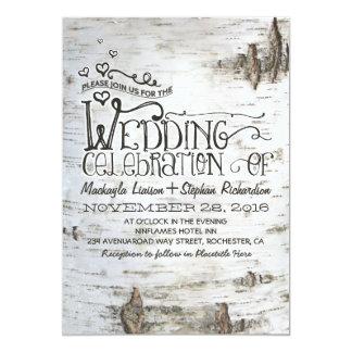 invitación rústica del boda del país de la corteza