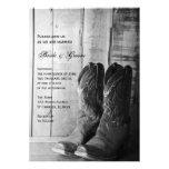 Invitación rústica del boda del país de las botas