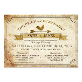 Invitación rústica del boda del país del gallo del