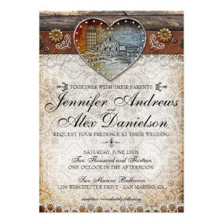 Invitación rústica del boda del país del granero