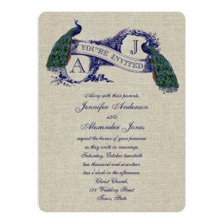 Invitación rústica del boda del pavo real de lino