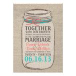 Invitación rústica del boda del tarro de albañil -