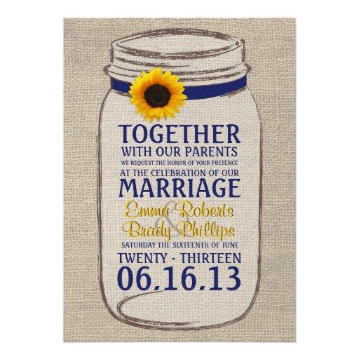 Invitación rústica del boda del tarro del girasol