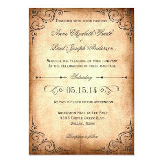 Invitación rústica del boda del vintage