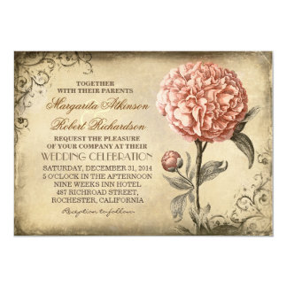 invitación rústica del boda del vintage con el invitación 12,7 x 17,8 cm